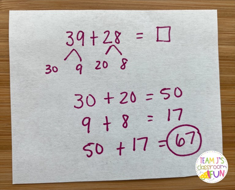 Photo of break apart addition math strategy.