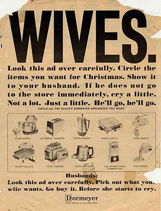 Wives Circle The Appliance ~ sexism in advertising