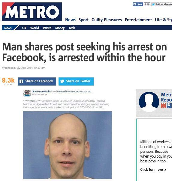 29 of the World's Stupidest Criminals ~ ~ Man shares post on Facebook seeking his arrest, is arrested within the hour