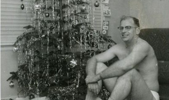 Funny Awkward Christmas Photos ~ Vintage snap, dad in underwear sitting in front of tree