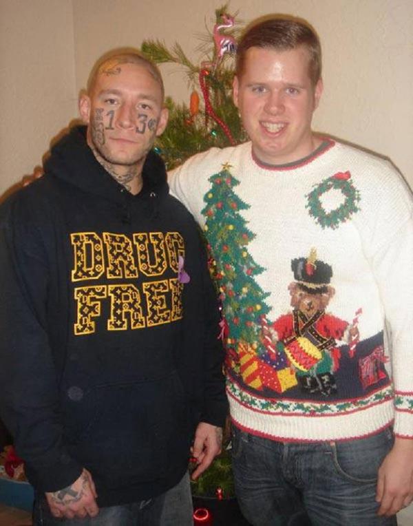 41 Funny Christmas Photos ~ family Christmas card, brothers face tattoos awkward
