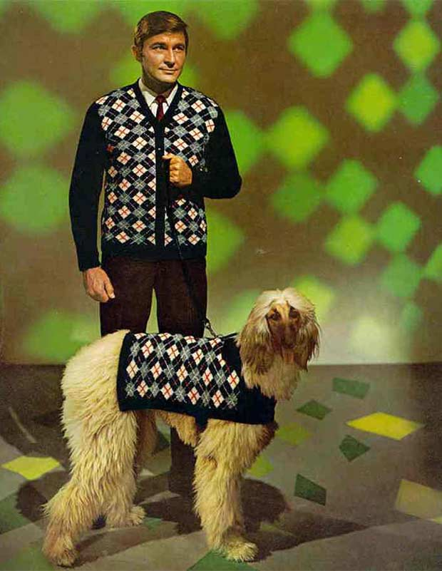 33 Funny Pics of Random Offbeat Weirdness ~ 1970s fashions, man, dog in matching clothes