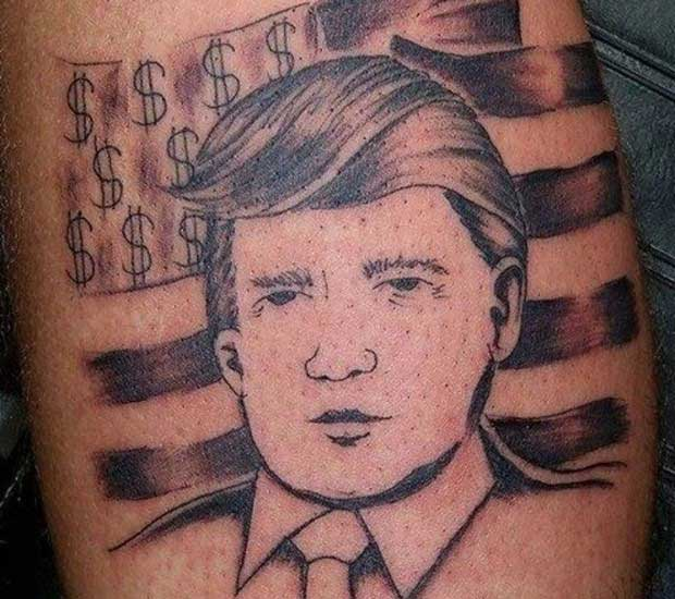 Bad, his hair is even combed to the wrong side ~ Donald Trump tattoo