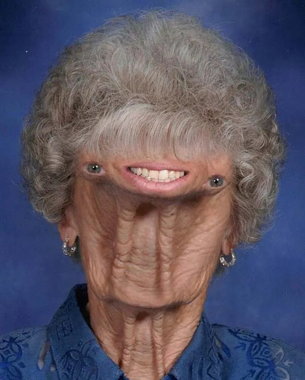 Crazy creepy old woman face collage by Phillip Kremer