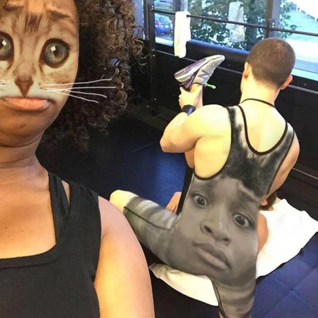 Funny face swap at the gym
