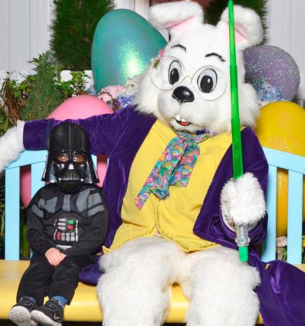 Old funny Easter pic with kid in Darth Vader costume & Easter bunny