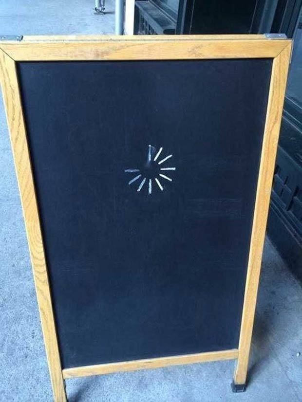 Funny Sidewalk Sign ~ buffering, loading...