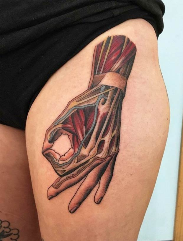 great thigh tattoo of hand, punching game symbol
