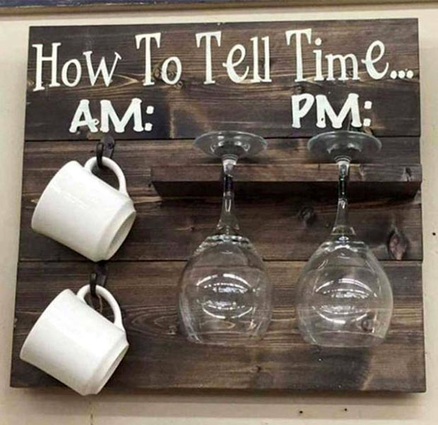 My Kinda Clock ~ How to Tell Time am pm Coffee Mugs Wine Glasses