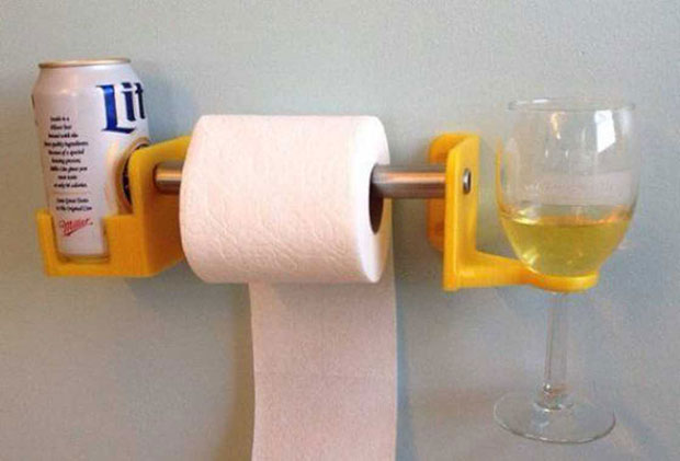 Awesome products ~ beer & wine glass toilet paper holder
