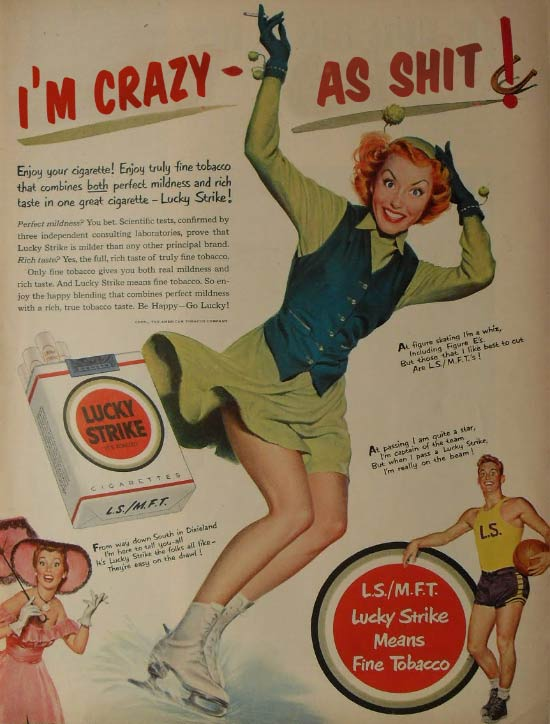 Insane vintage Lucky Strike cigarette ad ~ crazy as shit ~ 35 Funny Pics & Memes