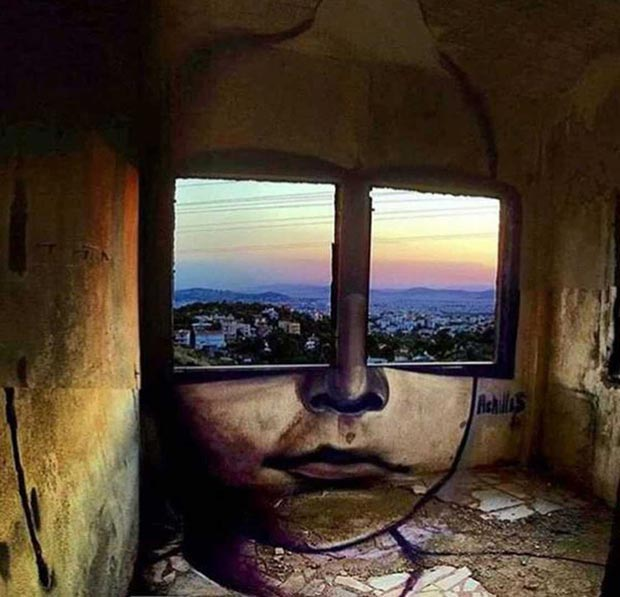 Cool mural graffiti window eyes girl