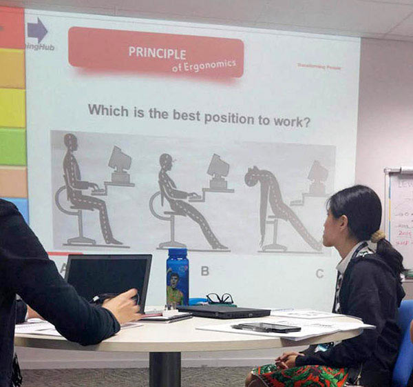 Funny Powerpoint ~ Ergonomics sitting positions for work ~ 35 Funny Pics & Memes