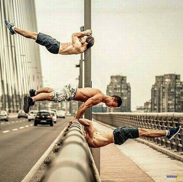 hunks exercisiing on bridge