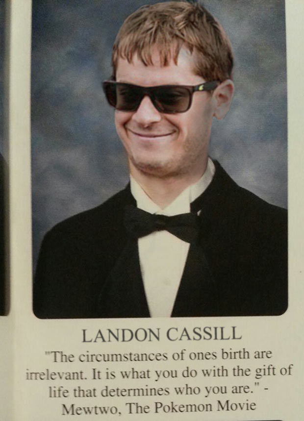 Party animal Landon Cassill of Jefferson High ~ funny NASCAR driver yearbook photos