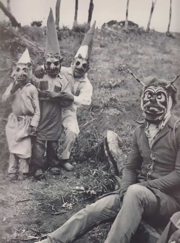 scary family in masks ~ old creepy photos
