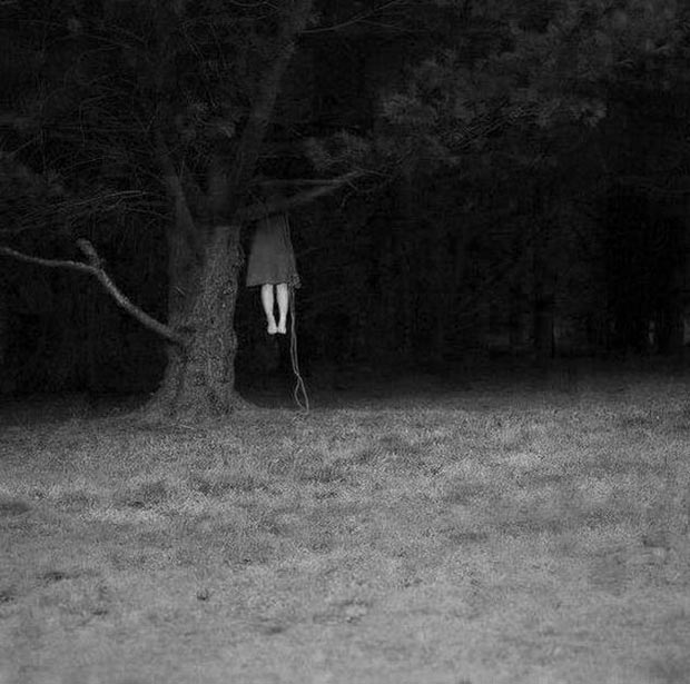 the backyard hanging ~ old creepy photos