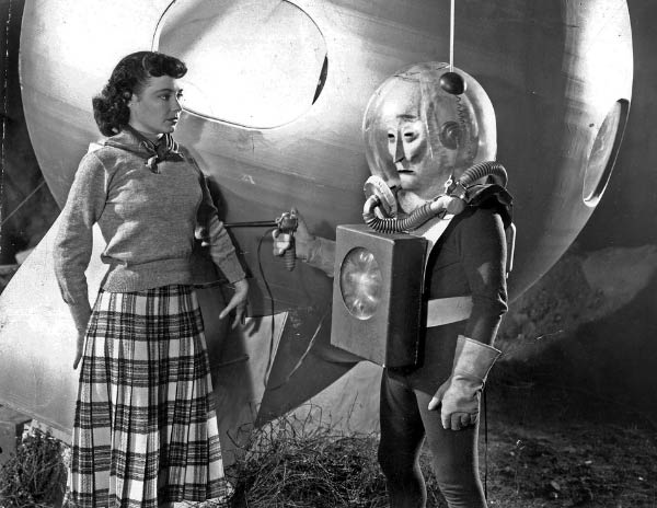 Vintage movie still from 1950s sci-fi flick ~ woman with alien