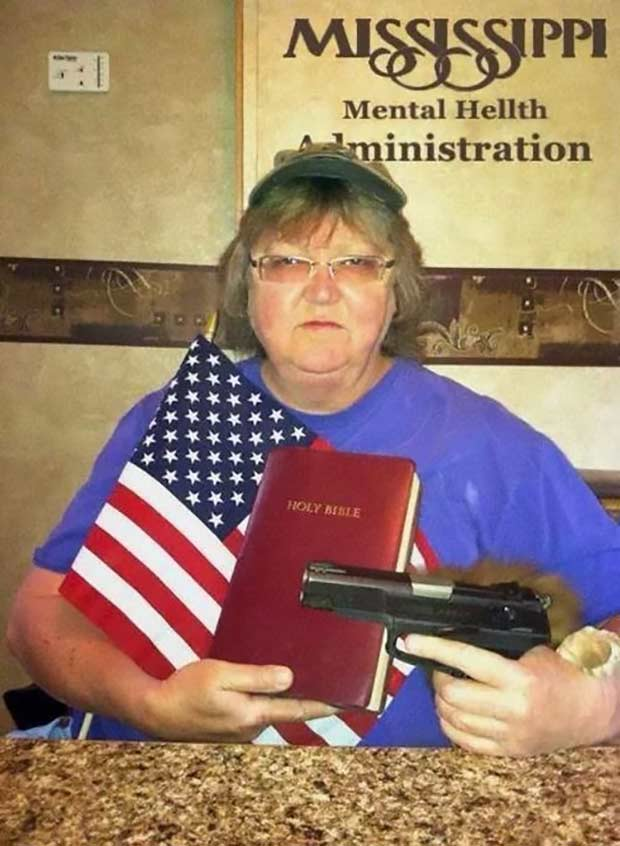 She seems stable... Mississippi Mental Health Administrations ~~ redneck woman with bible, flag, gun