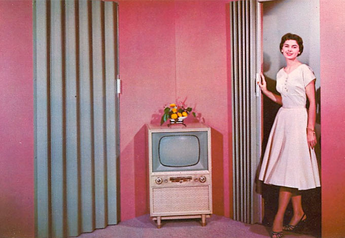 vintage postcard for folding doors 1950s with TV ~~ funny pics & memes