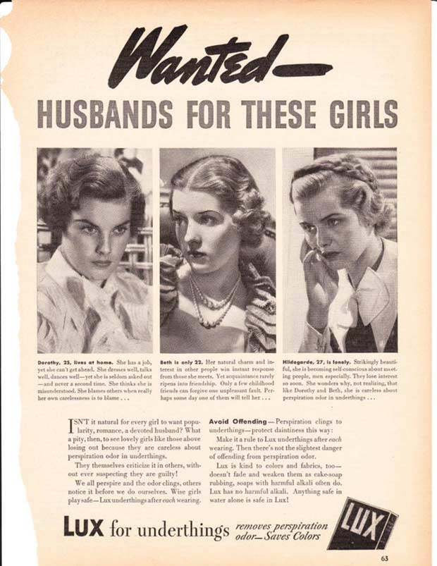 Wow. Put the shoe on the other foot with stinky, crotch scratching men! ~ Lux detergent ~ Sexist ads both vintage and new