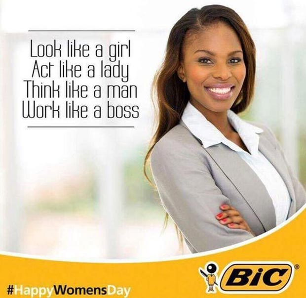 Yes! #HappyWomen'sDay ~ Now get back to work unequally compensated job! ~ Sexist ads vintage and new Bic Pens