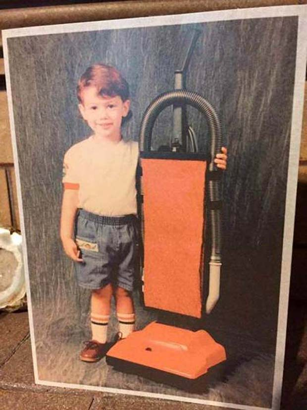 We're just happy Toby found a friend. ~.~.~ Awkwardly funny family portrait boy vacuum cleaner
