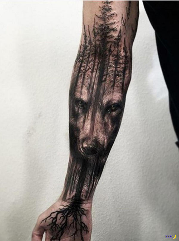 Great wolf forest sleeve tattoo