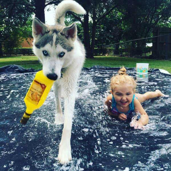 I want to party with them! ... awesome slip'nslide pic girl, dog tequila