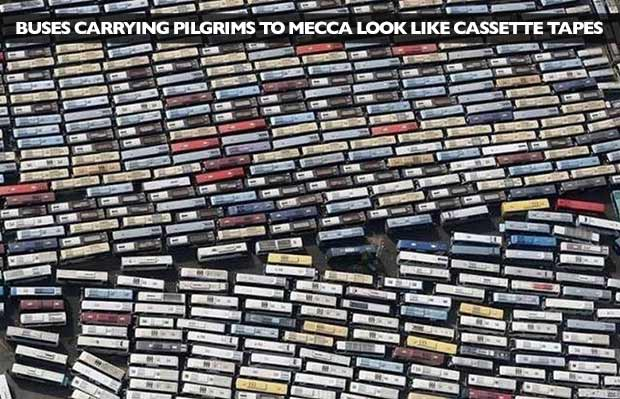 Damn, they do! Overhead shot of buses carrying pilgrims to Mecca look like cassette tapes