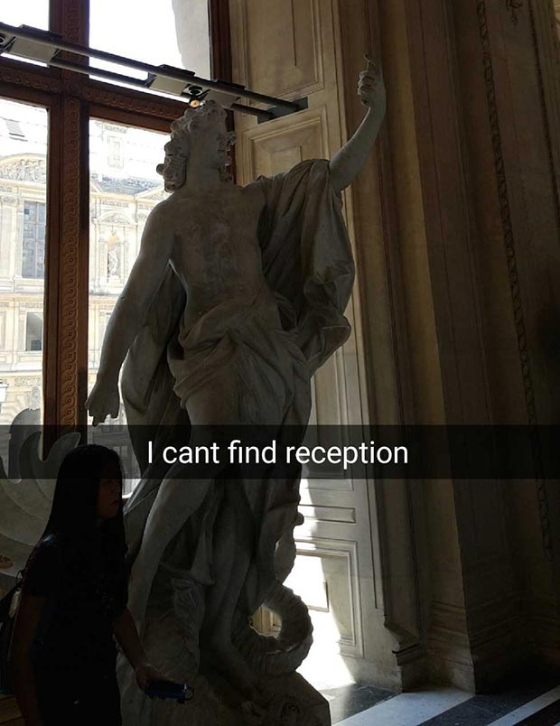 Funniest Snapchats ~ Art history statue can't find phone reception
