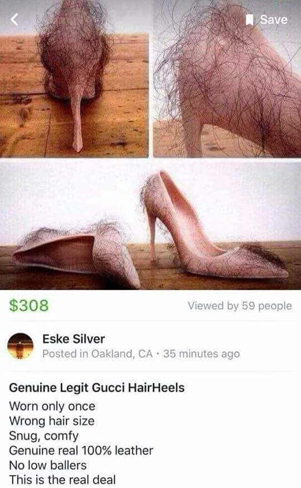 For Sale: Genuine Legit Gucci HairHeels, high heeled hair shoes, funny pics
