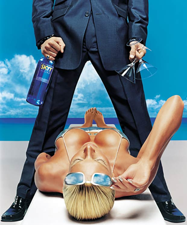 Sexist ads ~ Skyy Vodka Dominance and Power Stand Over