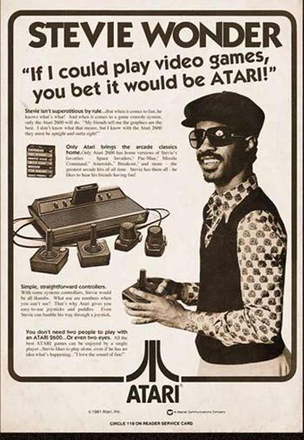 Vintage 1970's Atari ad with Stevie Wonder ~ Funny Pics & Memes