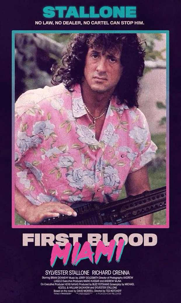 Sylvester Stallone ~ First Blood Miami ~ 1980s VHS movie box,