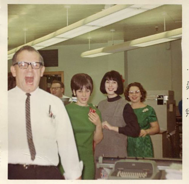 Ed... Performing the traditional Screaming of the Bells at the Jenkins Electrical Company office Christmas party.~ old vintage Christmas pics
