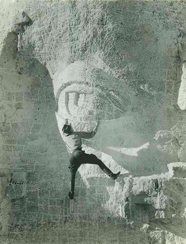 Carving an eye on Mount Rushmore, 1930s.