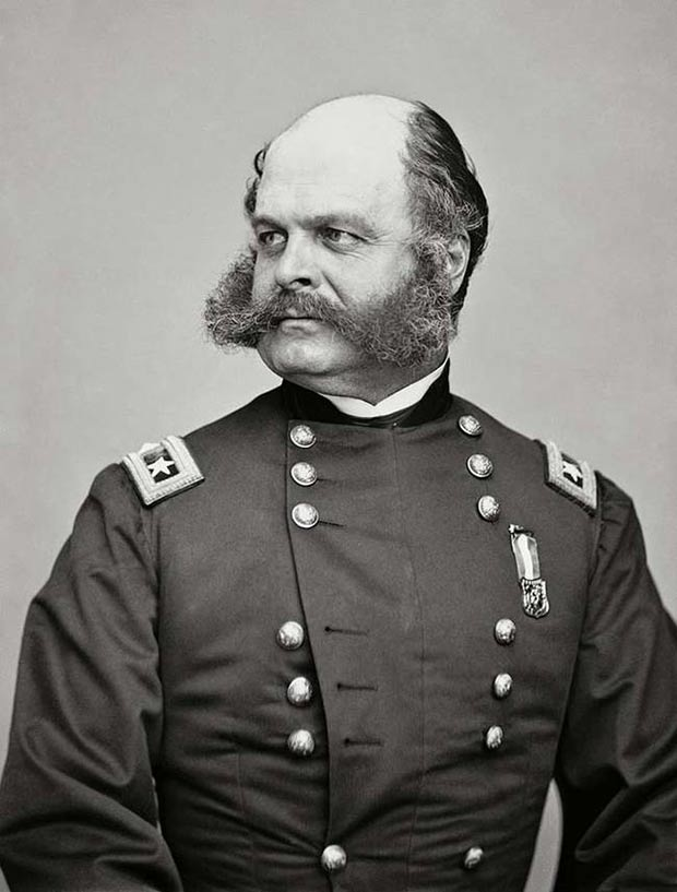 """Civil War General Ambrose Burnside for whom the term """"sideburns"""" was coined."""