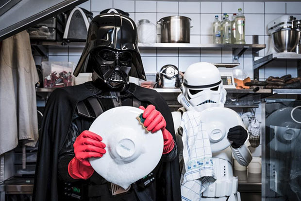 Hard times for Darth Vadar ~ washing dishes ~ Star Wars the Last Jedi