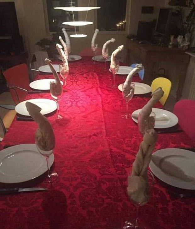 How my Grandma sets the table ~ funny pics and memes ~ napkins folded like penises