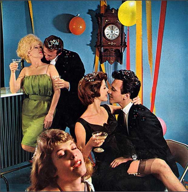 Vintage ad stag kissing at midnight new year's eve ~ funny pics, funny memes