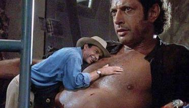 Sexy Jurassic Park mashup dr. grant leaning against Ian malcolm's chest