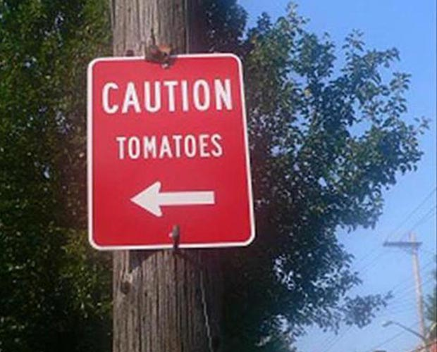 Funny Caution Sign ~ caution tomatoes ~ street sign