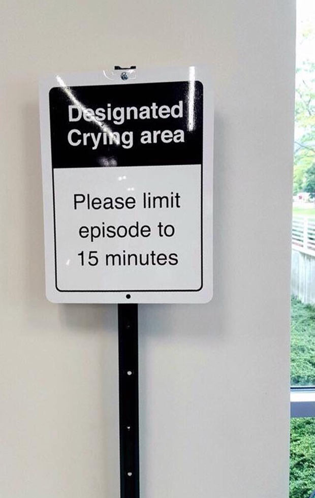 funny sign designated crying area funny pics memes