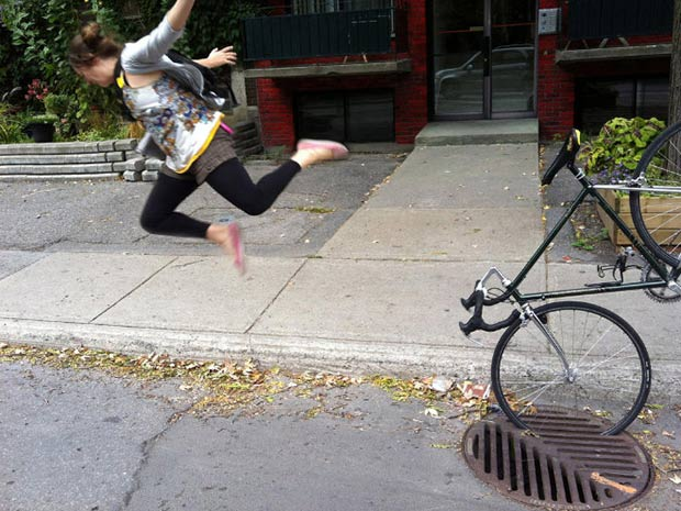 Bike in sewer grate wipeout ~.~satisfying perfectly time photos