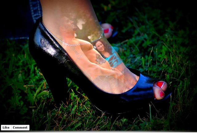Funny pic superimposed photography fcouple oot shoe
