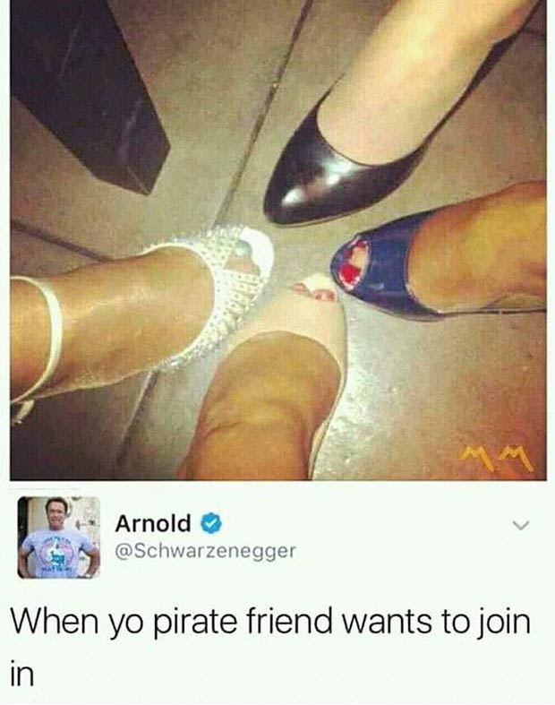 Funniest Memes of the Day ~ When your pirate friend wants to join in, women's shoes table leg