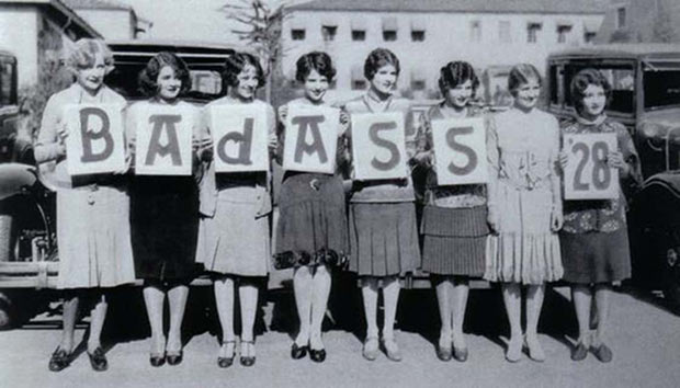 33 Funny Pics and Memes of the Day ~ vintage photo 1928 women holding badass signs cards