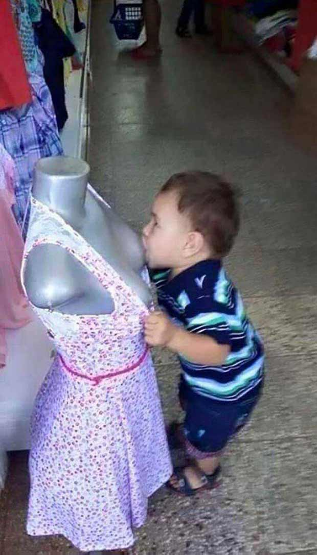 Funny kids, inappropriate breast feeding mannequin in department store ~ 33 Funny Pics, Funny Memes, Random Humor