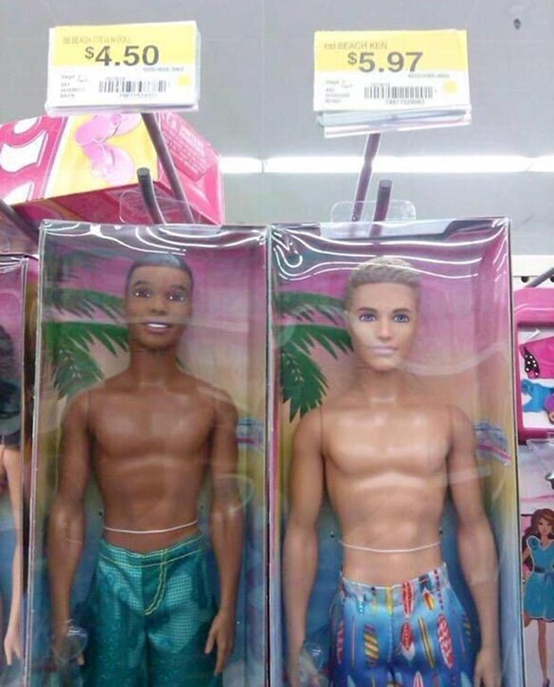33 Funny Pics and Memes ! black and white ken dolls different prices